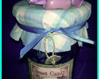 Decoration polymer clay wrapped candy jar