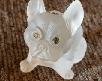 Vintage Clear Glass Westmoreland French Bulldog with Rhinestone Eyes and Gold Collar