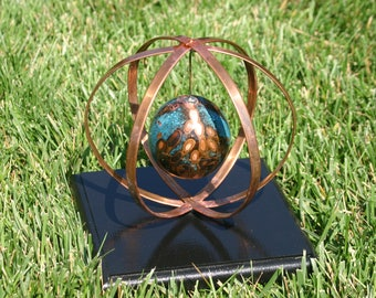 Fire and Ice  Patina Copper Sphere