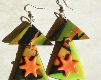 """Orange Star"" earrings"