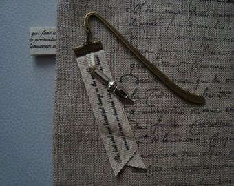 elegant bookmark bronze metal, poetic Ribbon and feather