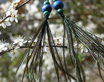 Macrame earrings, wooden beads and feathers