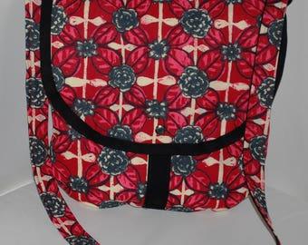 Grey/red/cream floral cotton fabric Messenger handbag