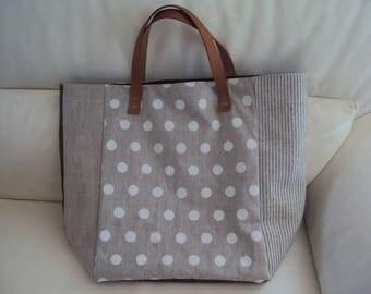 Handbag: linen and polka dots
