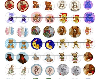 Digital images for cabochon or Teddy bear image transfer
