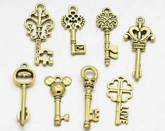 10 charms mixed key antique gold