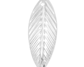 50 pendants charms silver leaf 21x7.5mm within 15 days