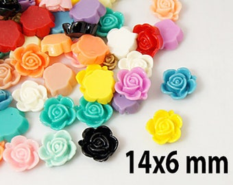 10 cabochons opaque resin, flower, color-multicolored, 14 x 6 mm