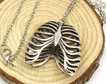 A pretty silver 3D ribcage necklace