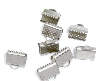6 caps 10mm antique silver claw clasps