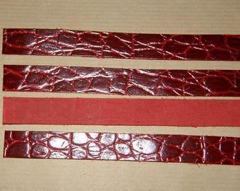 24x1.5cm red crocodile leather strap