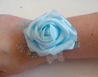 Sky blue elastic Ribbon and flower bracelet