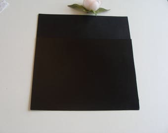 2 pieces of leather rectangle smooth black satin 15 * 20 cm thick 0.6