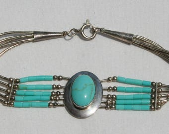 Navajo Turquoise, Silver and Beaded Clasp Bracelet