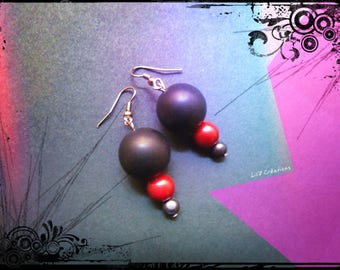 Earrings - red and black