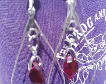 Ruby Red Swarovski Crystal Earrings with Silver Wires. SB35