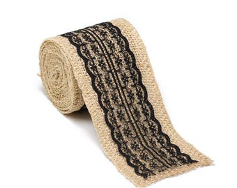 """2.5"""" Wide x 10 Yards Long Natural Burlap Craft Ribbon with Lace (Jute Ribbon, Burlap Tape, Rustic Decor) with Black Lace"""