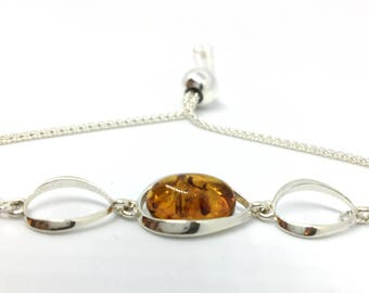 Silver Bracelet, Amber Bracelet, Gift for Her, Mum, Wife, Girlfriend, Sister, Birthday, Baltic Amber and Silver Slider Bracelet