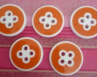 set of 5 yellow buttons circled in white