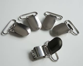 set of 5 pacifier, 25 mm metal dummy clips