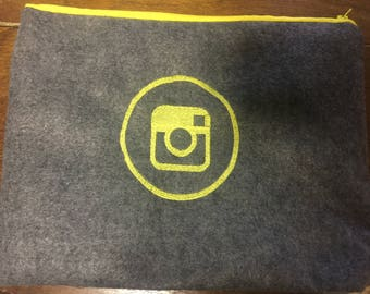 Gray Felt Instagram Clutch