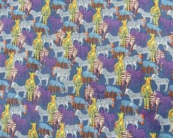 Blue and purple Zebra - print cotton fabric