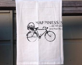 Hand Screen Printed Tea Towel - Hapinesses Bike -Housewarming Gift