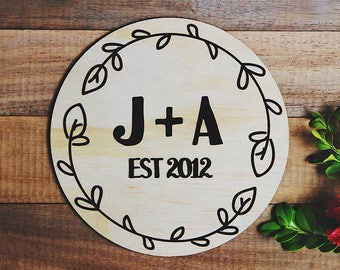 Wooden initial plaque | est. sign - personalised love sign - family sign