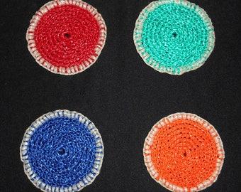 Crochet raffia handmade 4 coaster