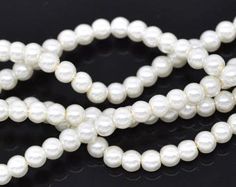 Wholesale lot of 100 white glass pearl beads, 6mm