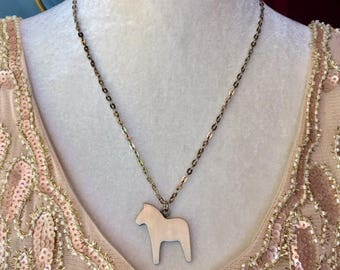 Vintage R. Tennesmed Pewter Dala Horse Pendant/Necklace
