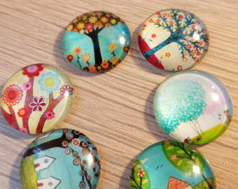 set six 20 mm glass cabochons