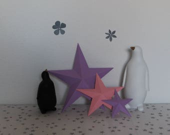 Stars in relief for wall decoration