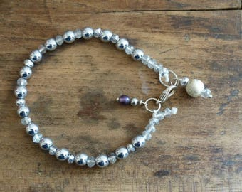 Hematite and silver Crystal bracelet