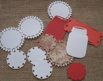 Lot cuts, dies, embellishments, tags, round, pots, a decoration, scrapbooking