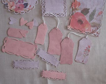 Set of tags, embellishments, hearts, cut, shabby