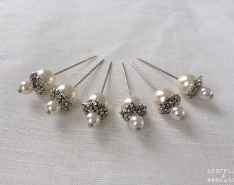 Lot de 6 épingles décoratives retro romantiques: perles nacrées et coupelles argentées