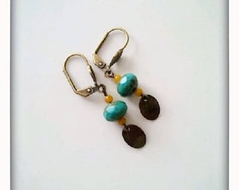 Small Stud Earrings turquoise blue and yellow