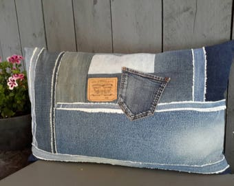 Fashionable residential Pillow made of recycled jeans 40 x 65 cm.