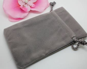 2 velvet gray 12x7.6cm - jewelry packaging pouches-