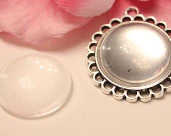 x 1 holder + 1 cabochon 20mm silver round pendant