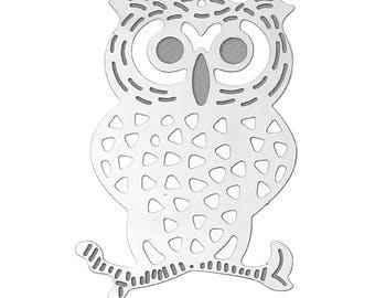 Set of 20 prints OWL OWL charm silver plated 40x27mm steel SC66928