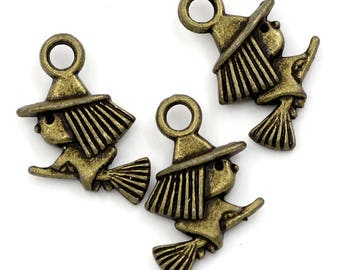 10 charms Bronze witch Halloween - SC23888 - 16x10mm