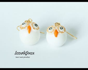 earring cold porcelain, white and gold OWL gifts, mother's day