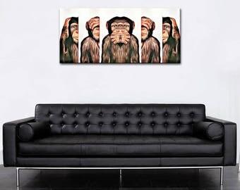 Panoramic photo canvas monkeys