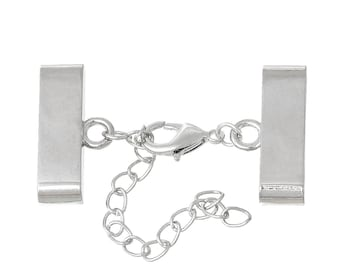 1 clasp with extension chain for cord to stick in silver