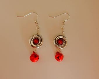 "Silver red earrings ""beads and bells"""