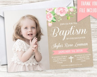 Baptism Invite Girls Invitation Photo 7x5 Digital Floral Watercolor Pink Christening Christian Baptised Baptized