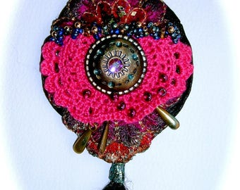 Manchu embroidered Bohemian pendant
