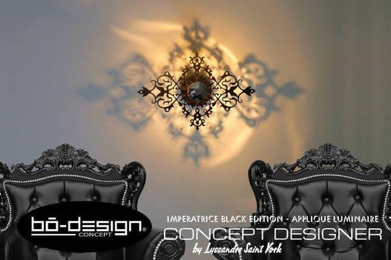 Luminaire design baroque imperatrice modele 45x30 cm noir for Luminaire baroque